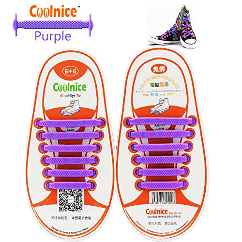 Coolnice No Tie Shoelaces for Kids, Men & Women | Waterproof & Stretchy Silicone Tieless Shoe Laces | for Athletic, Sneaker, Hiking Boots, Board Shoes & Casual Shoe | Eliminate Loose Shoelace (1 Kids Orange White Sneakers)