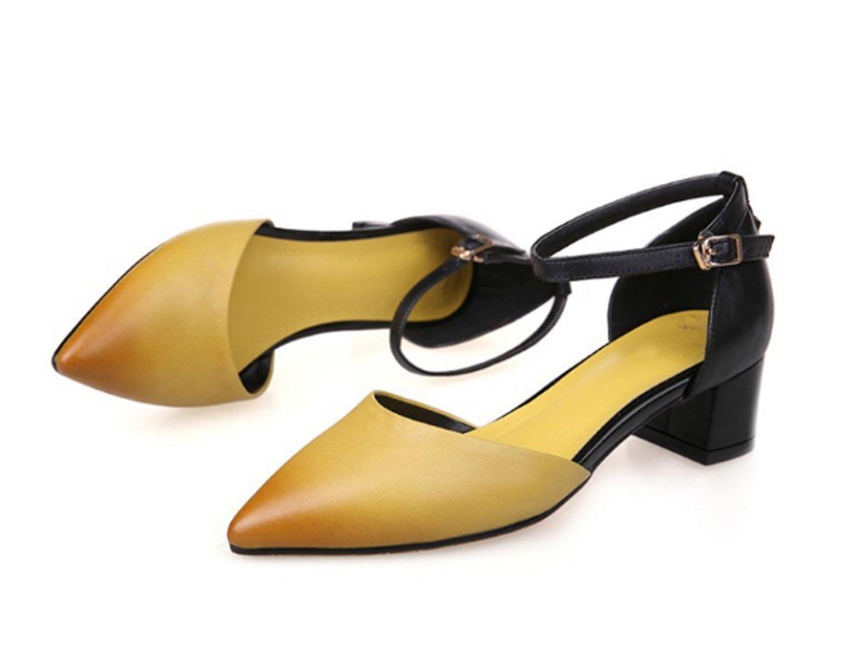 Huaishu Damen Sandalen Frauen Seite leer Sandale Jahreszeiten Schuhe weiche Seite Leder spitz dick mit Schnalle Schuhe Damen  EU34/UK2|Gelb