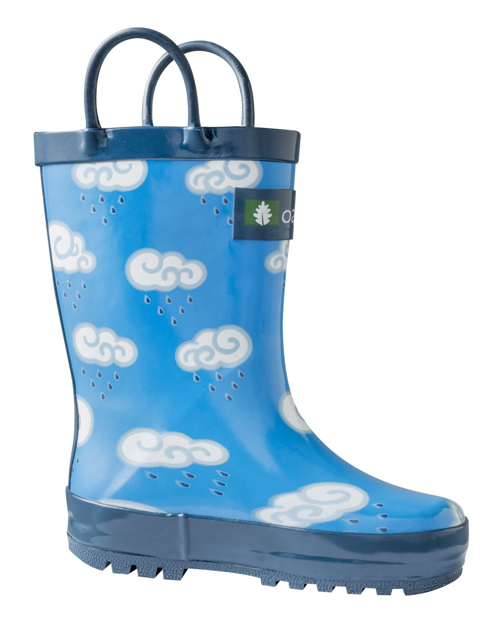 Oakiwear Kids Rubber Rain Boots with Easy-On Handles, Clouds, 13T US Toddler