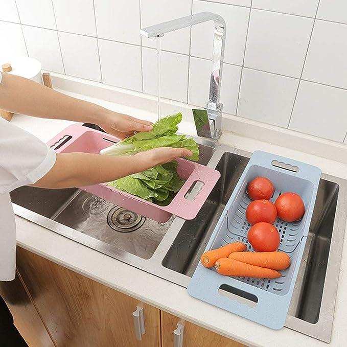colador Almacenamiento para ni/ños colador Estante de Secado escurridor jlfhyg Cesta de Drenaje de pl/ástico retr/áctil para Verduras y Frutas sobre el Fregadero