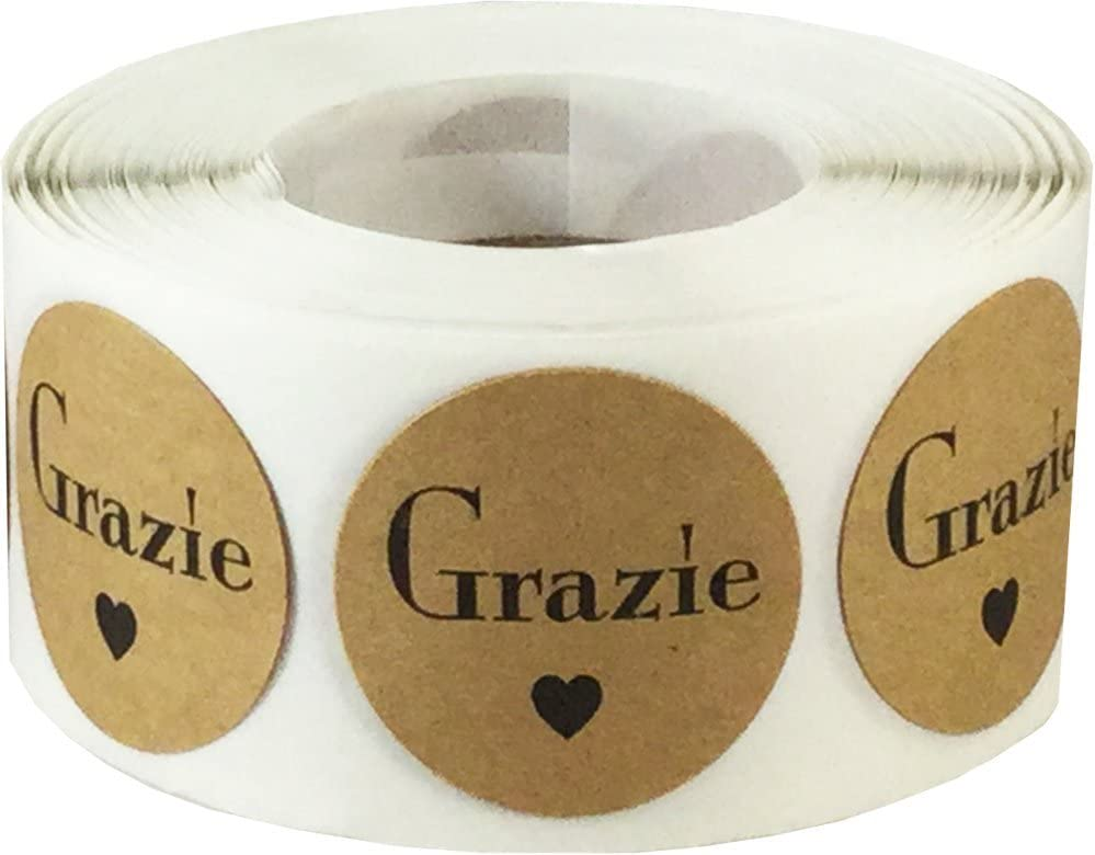 Grazie Italian Thank You Natural Kraft Adhesive Stickers 1 Inch Round Circle Dots 500 Labels Per Roll