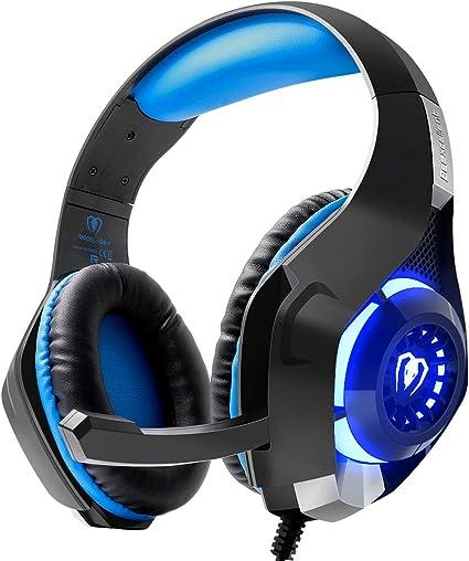 beexc cocido gm de 1 Gaming Headset con micrófono para PS4 PC, Stereo Bass 3.5 mm LED, Xbox One, portátiles, Mac, Tablet y Smartphone Azul: Amazon.es: Electrónica