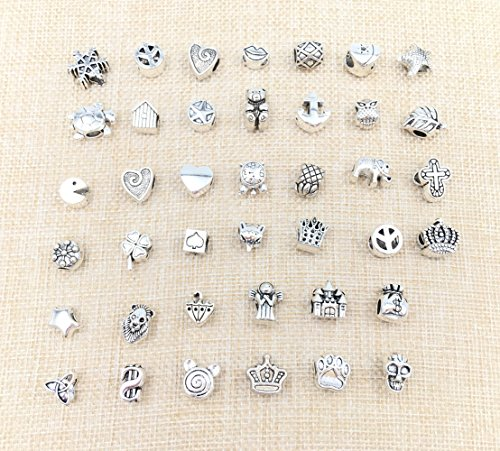 40pcs Antique Silver Assorted Pandora Big Hole Spacer Bead Charm (Beads And Charms)