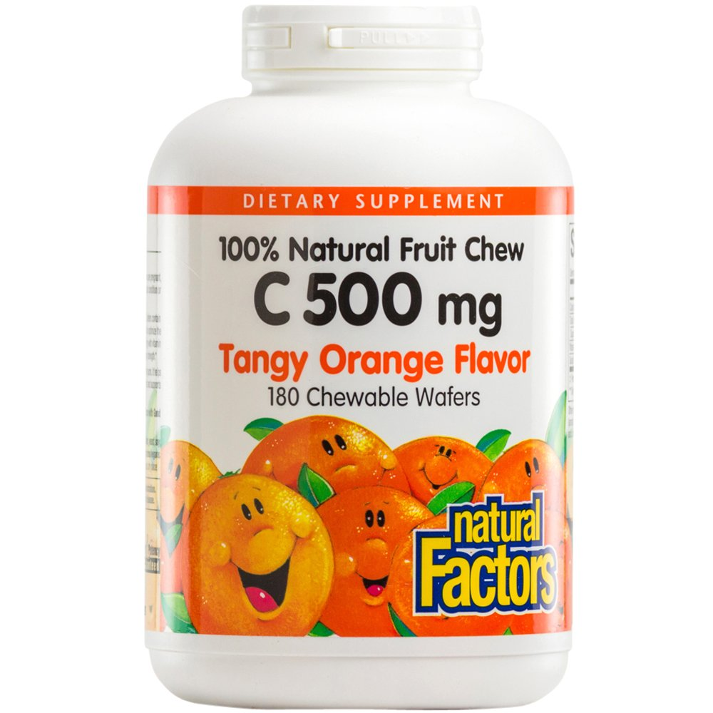 Natural Factors - Vitamin C 500mg, 100% Natural Fruit Chew, Tangy Orange, 180 Chewable Wafers