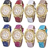 Yunanwa 8 Assorted Pack Women Men Watches Summer Leather Jelly Dress Lines