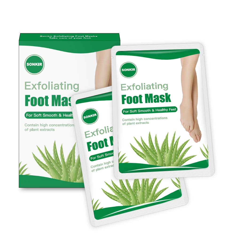Sonkir Exfoliating Foot Mask, Peeling Away Rough Calluses and Dead Skin cells in 1-2 Weeks, Repair Exfoliant Treatment for Soft Smooth & Healthy Feet (Aloe/2 Pairs)