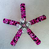 Fancy Blade Ceiling Fan Accesories Blade Cover Decoration, Pink Camo