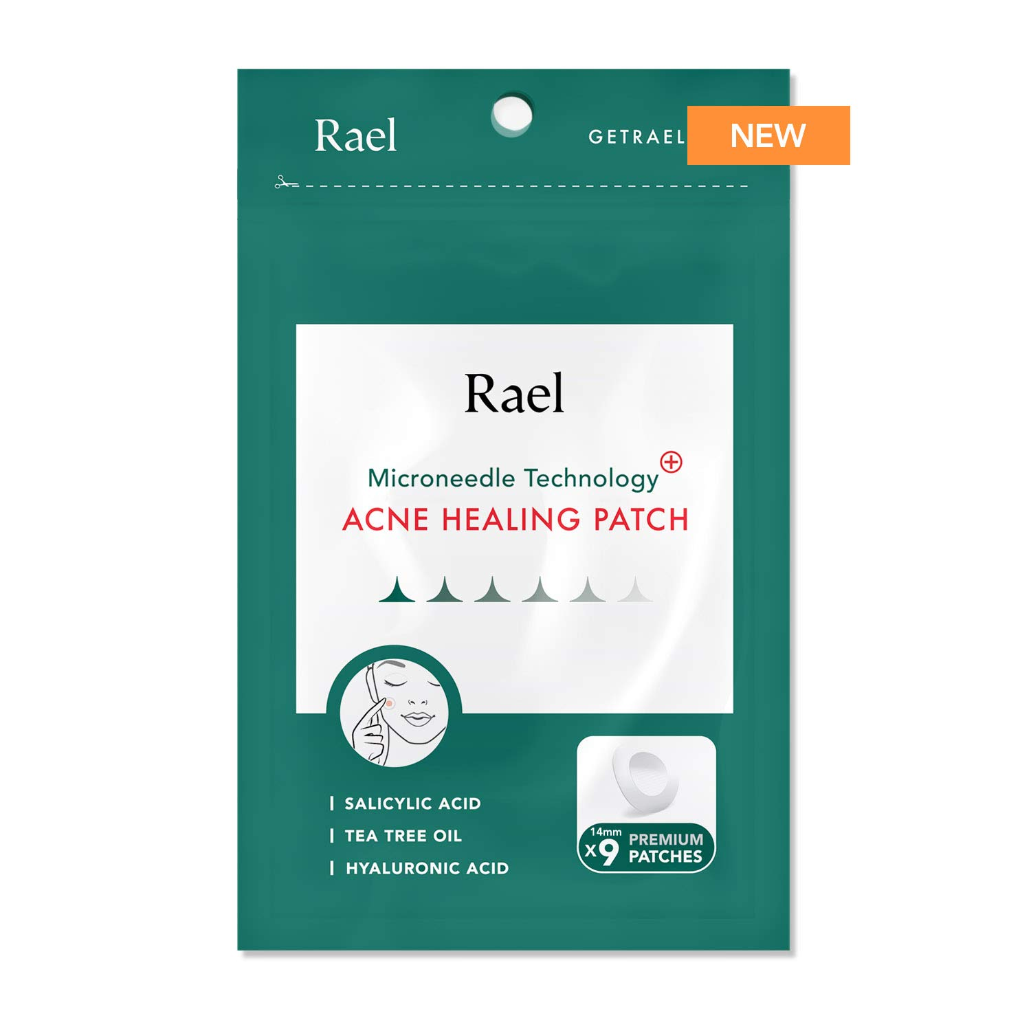 Rael Microneedle Acne Healing Patch - Pimple Acne Spot Tea Tree Treatment (1Pack, 9 Patches)