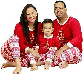 ae6efce1dc WANGSCANIS Baby Adults Xmas Tree Deers Print Family Matching Christmas  Pajamas Set Striped Sleepwear