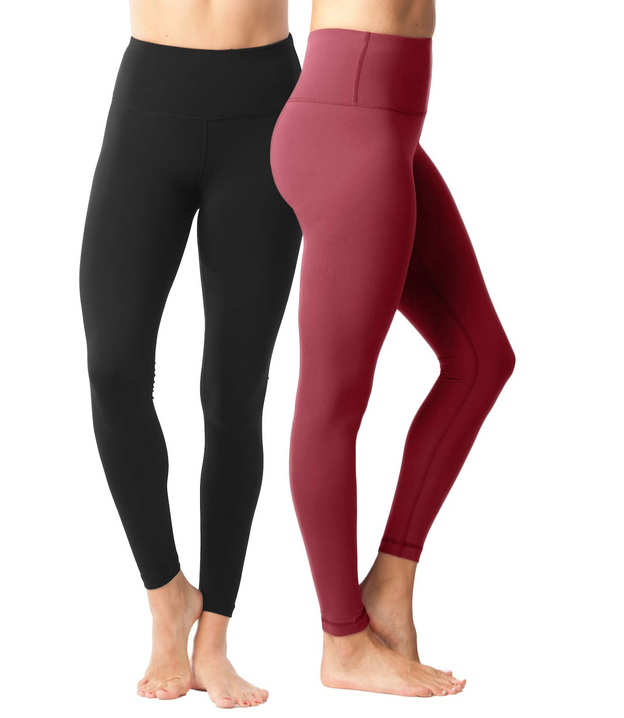 Yogalicious High Waist Ultra Soft Lightweight Leggings - High Rise Yoga Pants - 2 Pack - Black and Burnt Garnet - XS