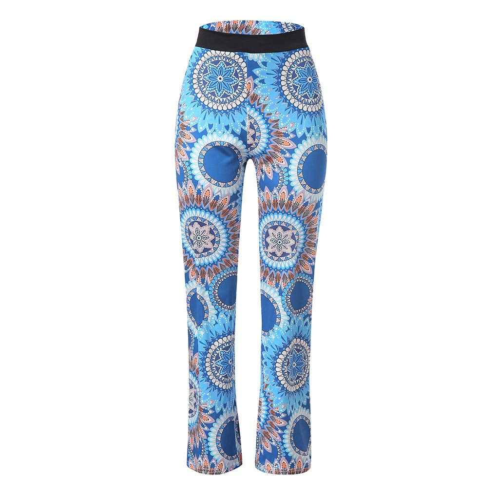 Pervobs Women Summer Casual Boho Floral Printing High Waist Wide Leg Pants Holiday Daily Loose Leggings Trouser(M, Blue) by Pervobs Women Pants (Image #8)