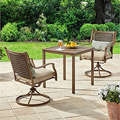 Durable Steel Frames Slat Top Table Swivel Chairs 3-Pc Outdoor Bistro Set