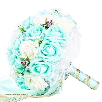 Funihut Bouquet De Mariee Blanc Et Rose Pale En Satin