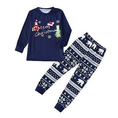 a4417beada FEDULK Merry Christmas Matching Family Pajamas Holiday Sleepwear Nightwear  Dad Mum Kids Pjs Sets(Blue1