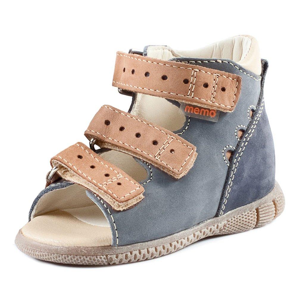 Memo Dino 1DA First Walker Toddler Boy Orthopedic Leather Anti-Slip Sandal, 18 (3T)
