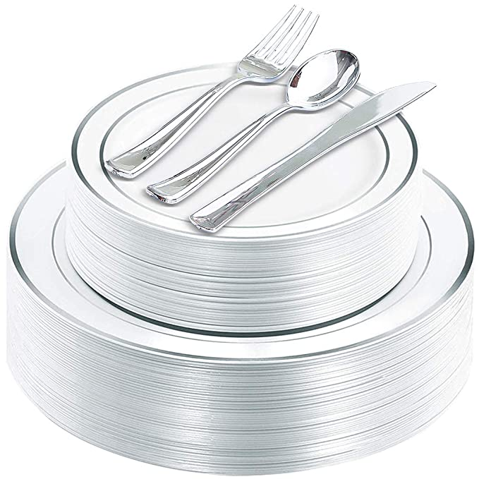 125 Piece Silver Rim Plastic Plates & Silver Plastic Silverware, Service for 25 Guests : 25 Dinner Plates,25 Dessert/Salad Plates 25 Forks,25 Knives, 25 Spoons.