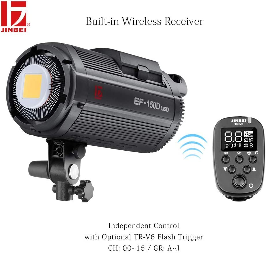with 55/°Standard Reflector Lighting Bowens Mount for Portrait Photography Video Recording JINBEI EF-150 150W LED Video Continuous Lighting 5500K CRI 95