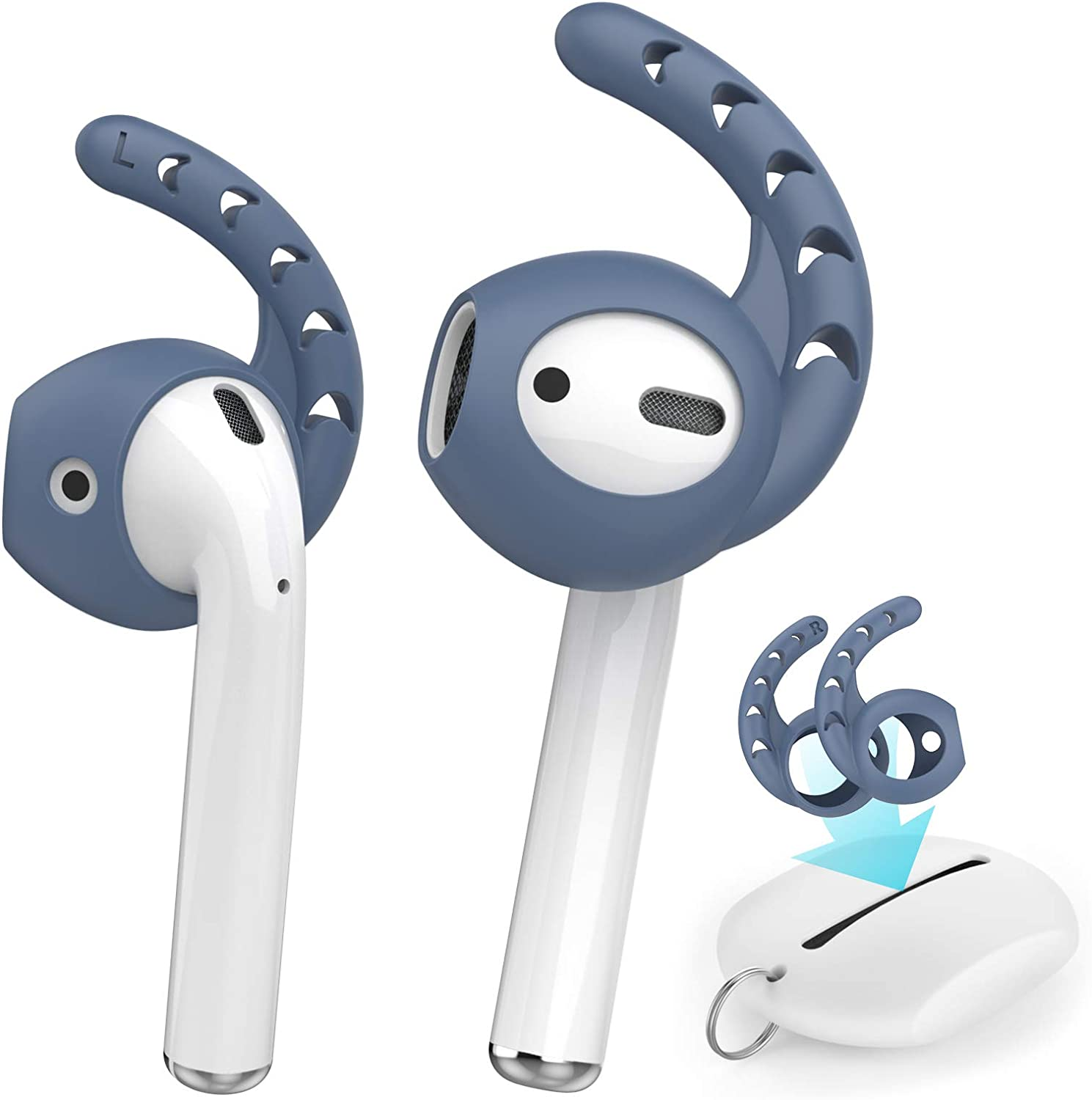 AhaStyle 3 Pairs AirPods Ear Hooks Silicone Accessories [Added Storage Pouch ] Compatible with Apple AirPods 1 and 2 or EarPods Headphones(Navy Blue)