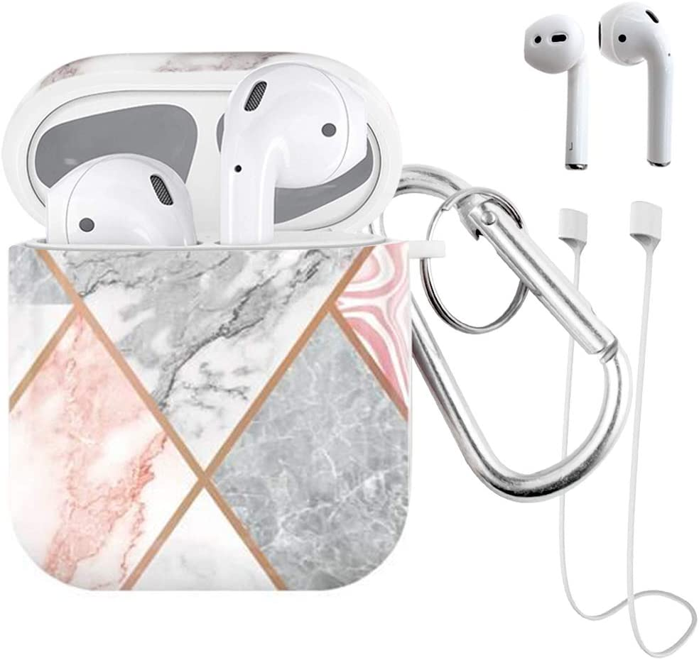 Airpods Case Lovemecase 4 in 1 Marble Cute AirPods Accessories Protective Design Case Cover Portable Shockproof Women Girls with Keychain/Strap/Earhooks for Airpods 2/1 Case (Shiny Marble)
