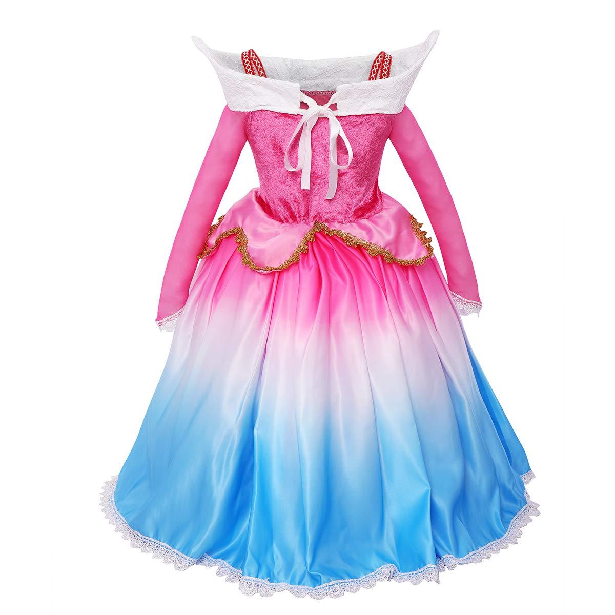 FYMNSI Disfraz de Princesa Aurora Vestido Traje de Bella ...