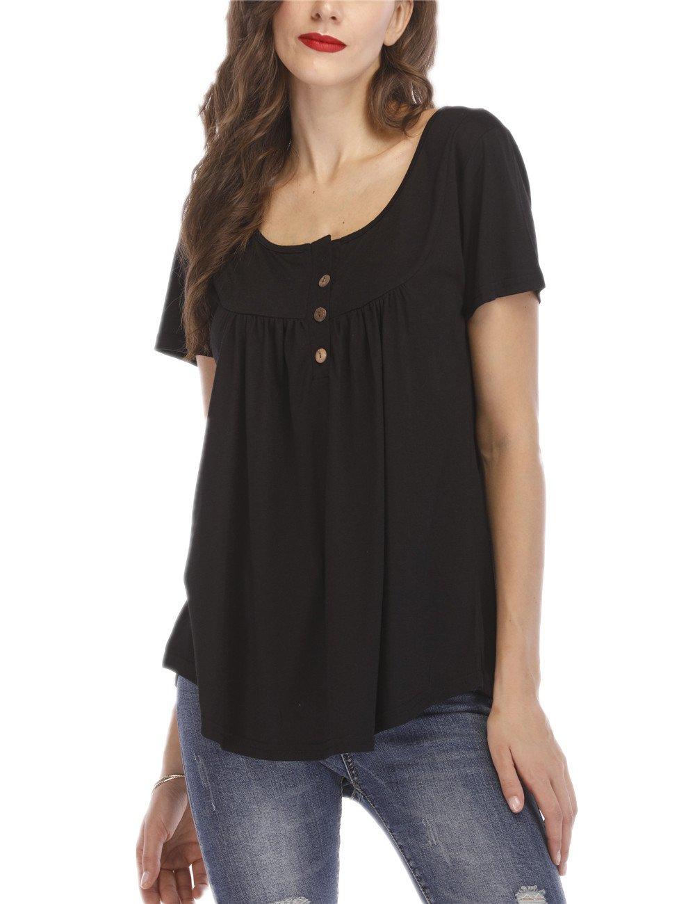 KSK KAISHEK Womens Casual Cotton Short Sleeve Basic Baggy Plain Blouse T shirt