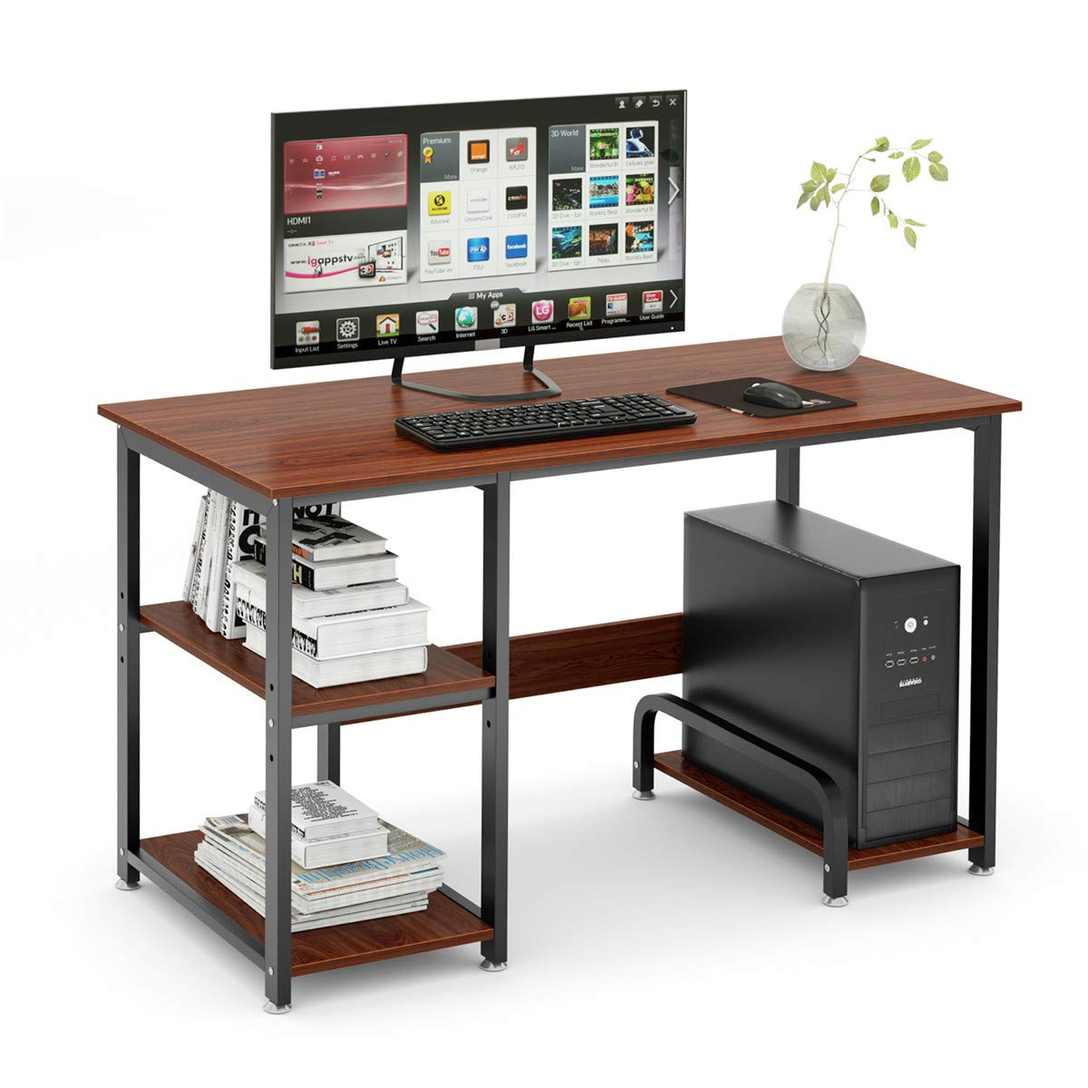 Computer Desk 47 Office Desk with Hutch Gaming Table Writing Study Table Workstation with 2 Storage Bookshelf for Home Office