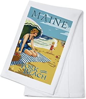 product image for York Beach, Maine - Beach Scene (100% Cotton Kitchen Towel)