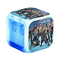 7 Colors Digital Alarm Clock for Fortnite with Snooze Function LCD Screen Displays Time, Date, Temperature Best Gift for Children Birthday, Christmas or Game Lovers
