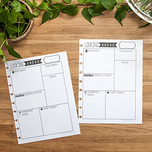 Looking Ahead Monthly Reflection Insert for Letter Sized Disc-Bound Planners, Fits 8.5