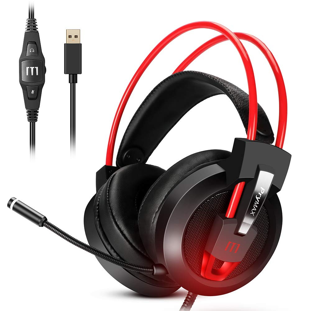 Gaming Headset, Prymax Gaming Headphones USB 7.1 Surround Sound Headset with 360° Adjustable Noise Canceling Mic, Crystal Clear Sound, Soft Ear-Cup, LED Light for PC/Mac/Nintendo Switch/PS4 by PRYMAX