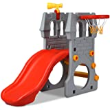 Costzon Toddler Slide, 4 in 1 Climber Slide Set with Basketball Hoop, Telescope, Crawl Through Space, Easy Climb Stairs…