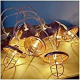 Teepao Cafe String Lights, Battery Powered Vintage Geometric LED Metal String Lights Suitable for Outdoor Indoor Yard Bedroom Coffee Shop Camping Holiday Christmas Wedding Party Home Decoration