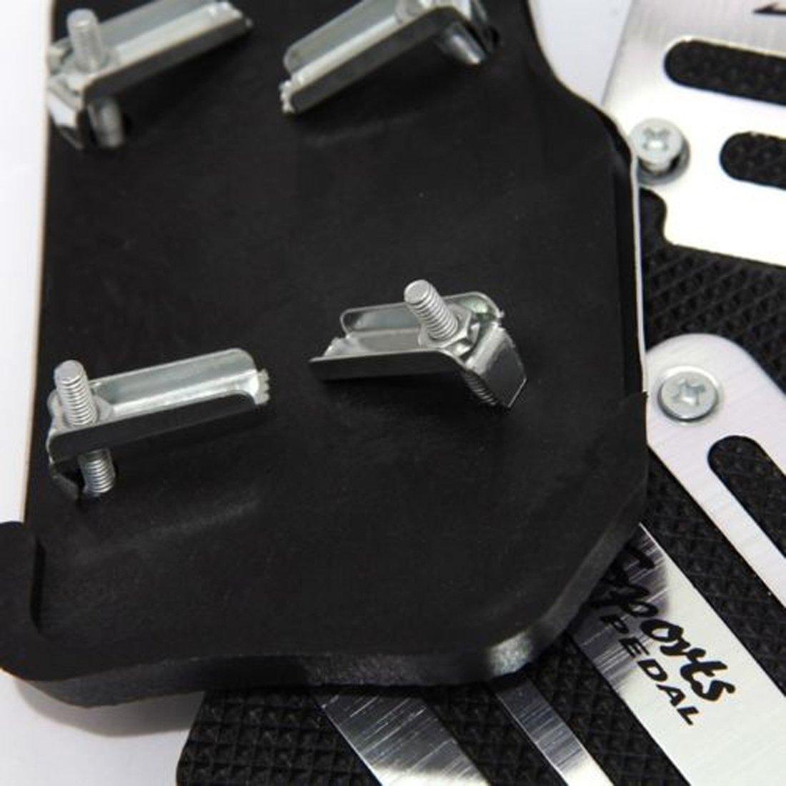 sourcing map 3 Piezas Plateada Negra Cubierta de Pedal de Embrague de Freno de Coche: Amazon.es: Coche y moto