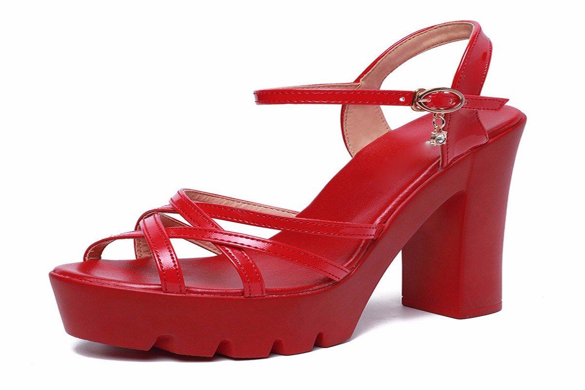 HBDLH-Damenschuhe Wasserdichte Tabelle Dicken Boden Sandalen Rote Walking Walking Walking 13Cm High Heels Dick und Dicker Hintern Sommer Frauen. ebd762