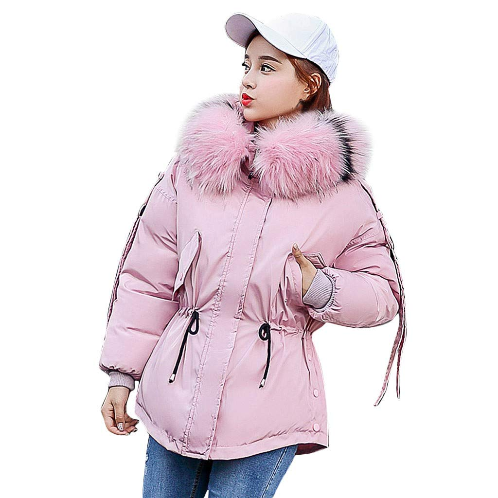 Fashionhe Hooded Down Jackets Warm Outerwear Long Sleeve Overcoat Cotton-Padded Pockets Bandage Winter Coats(Pink.XL) by Fashionhe