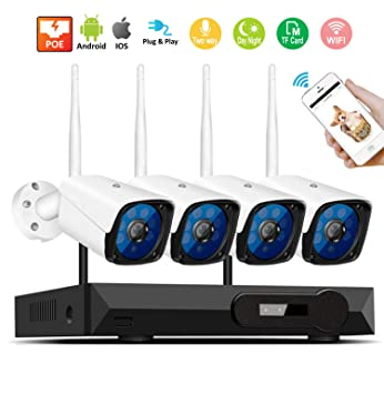 Sistema inalámbrico de cámaras de Seguridad para el hogar, cámara de vigilancia remota HD 2560P