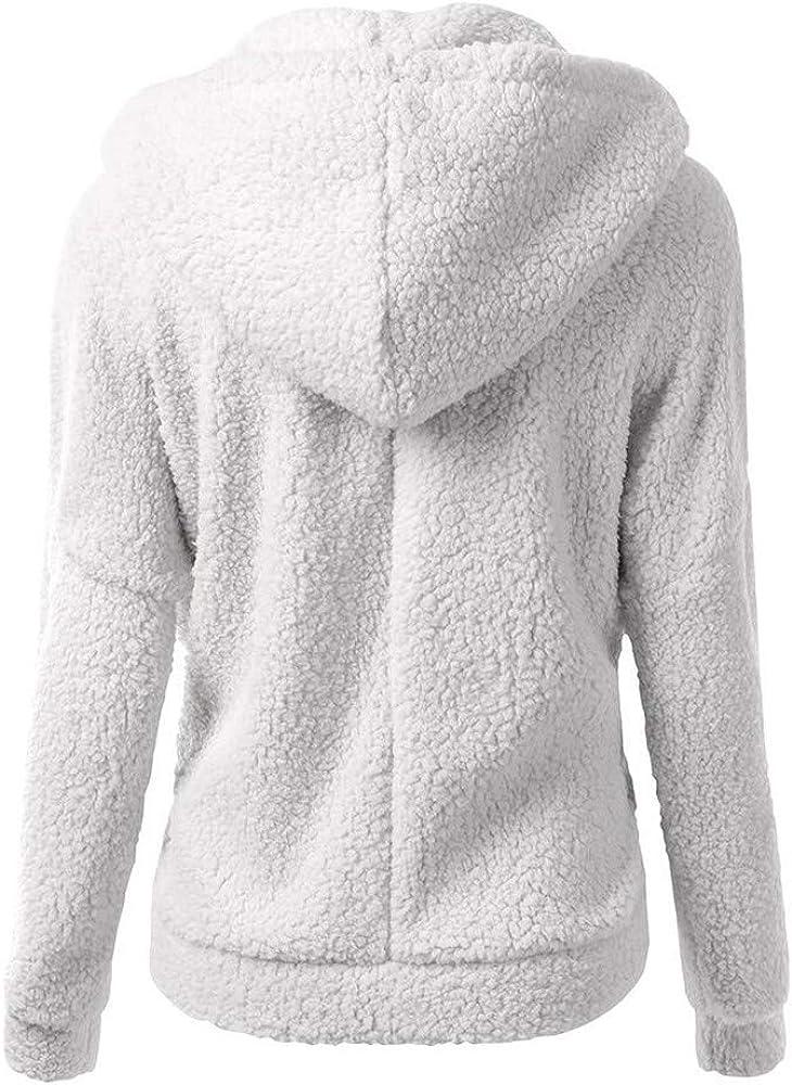 JOFOW Womens Faux Fur Coat,Winter Warm Casual Solid Classic Hooded Fuzzy Loose New Fleece Wool Coats Zipper Pocket Jacket