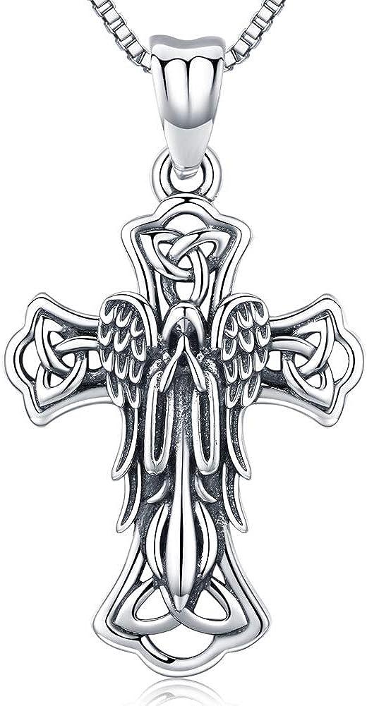 Friggem Collar de Cruz para Mujer y Hombre, Joyería de la Virgen María, Colgante de Plata Esterlina Crucifijo con Nudo Celta de Encanto Irlandés - Regalo de la Sagrada Calma