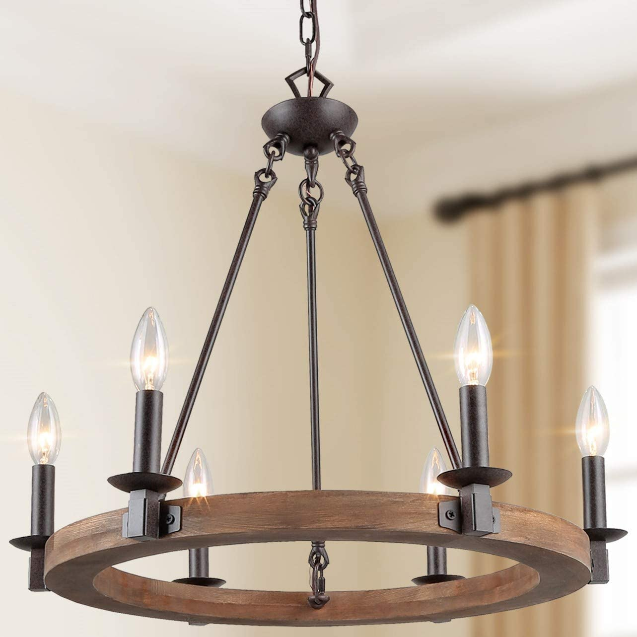 Amazon Com Laluz Farmhouse Chandeliers For Dining Rooms 23 Wood Wagon Wheel Chandelier Rustic Dining Room Lighting Fixtures Hanging Home Improvement