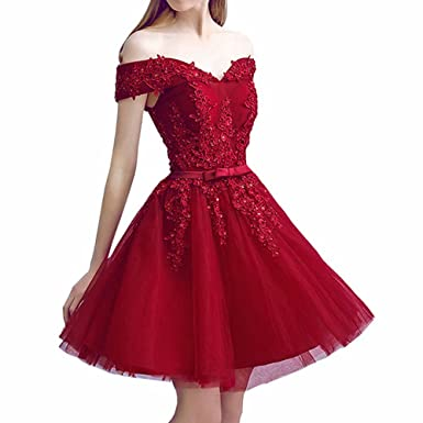 23756e90ad Pandorawedding Women s 2018 Vintage Off Shoulder Homecoming Dresses Retro  Applique Short Lace Prom Dress Burgundy