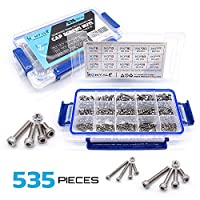 304 Stainless Steel Screw and Nut 535pcs, M2 M3 M4 Hex Socket head Cap Screws Assortment Set Kit from Homvale