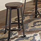 Cheap Challemy Rustic Brown Metal Wood Stools, Set of 2