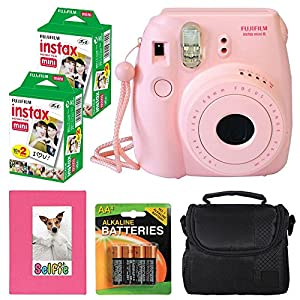 Fujifilm Instax mini 8 Instant Film Camera (Pink) + Selfie Photo Album + Instax Mini Twin Pack (40 shots) + Digital Camera Case + AA 4 Batteries + Accessory Kit - International Version (No Warranty)