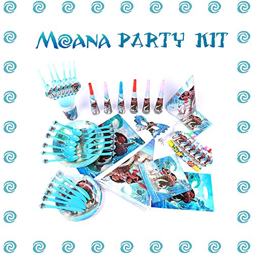 Moana Birthday Party Supplies and Decorations - 125 Items Pack For 8 Guests - 2 BONUS Gifts: The Necklace Heart of Te Fiti And 8 Pack Pinback (Princess Themed Birthday Party)
