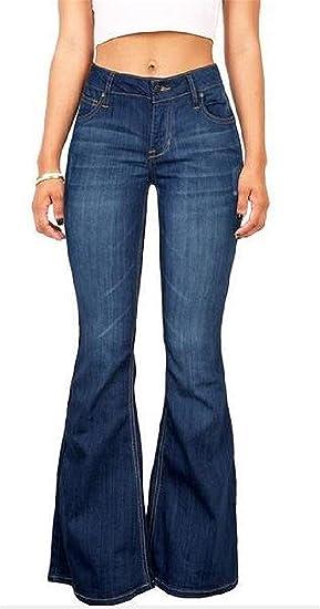 Keaac レディース スリムフィット 伸縮性のあるカジュアル ルーズ フィット デニム パンツ ベル ボトム フレア パンツ Dark Blue XXX-Large
