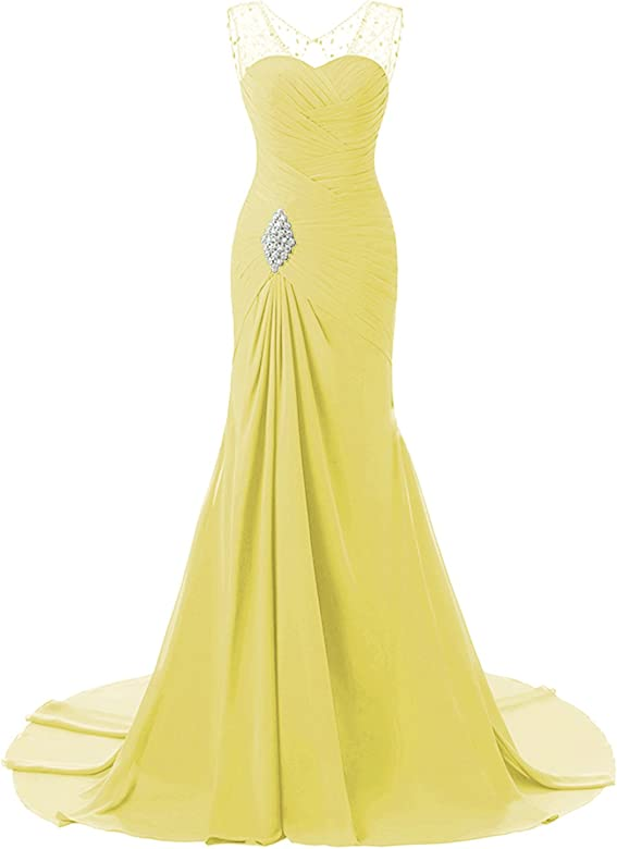 ea47d7d22a99b Lily Wedding Womens Mermaid Prom Bridesmaid Dresses 2018 Long Evening  Formal Party Ball Gowns FED003 Yellow