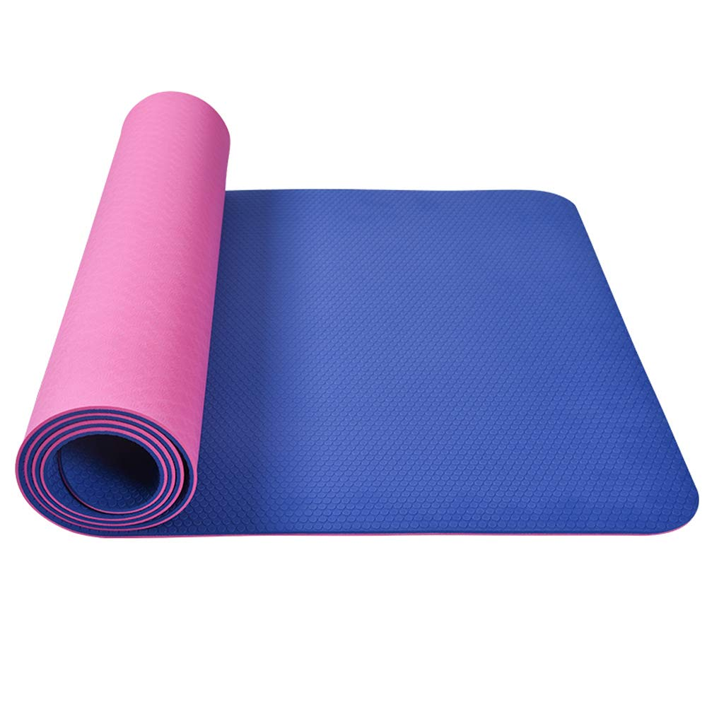 ヨガマット - 2トーン滑り止め無味TPEヨガマット、男性と女性フィットネスヨガのピラティスマット多機能運動マット[184 * 66cm] B07JMXKDSY  Pink+dark blue