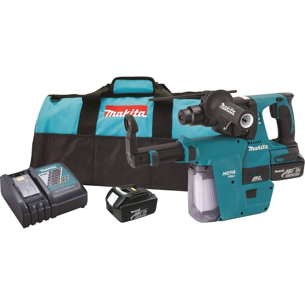 Makita XRH011X 18V LXT Lithium-Ion Brushless Cordless 1-Inch Rotary Hammer Kit Accepts SDS-PLUS Bits with HEPA Vacuum Attachment Discontinued by Manufacturer