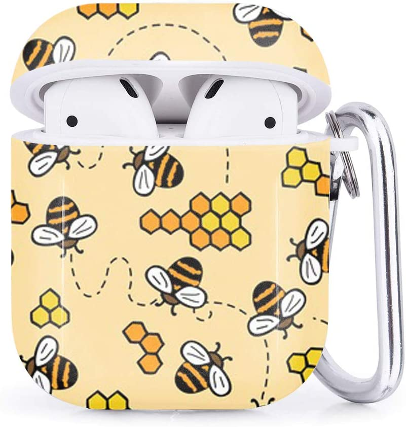Cute Bees Compatible with Airpods 2 /& 1 Shockproof TPU Gel Portable Protection Soft Case Cover Skin with Carabiner Clip Keychain