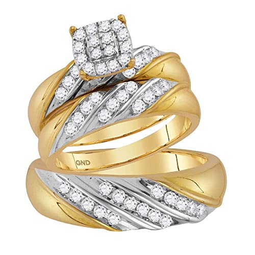 Juego de anillos de boda de oro de 14 quilates, diseño redondo de ...